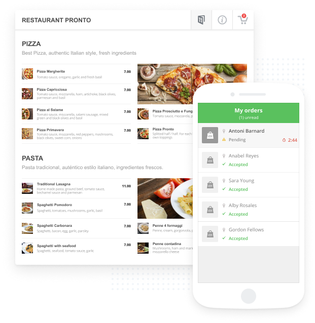 web design for restaurants with online food ordering and reservation